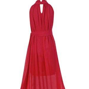 Dresses & Skirts - Women Halter Neck Sleeveless Chiffon Maxi Dresses